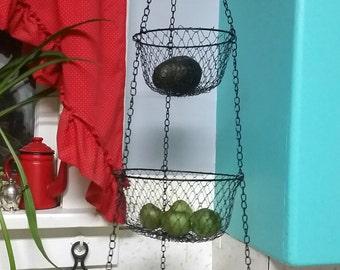 Vintage Wire Hanging Kitchen Basket Black