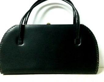 Vintage 1950's  Black Vinyl Handbag Pin up Rockabilly Handbag Large Size Stylish