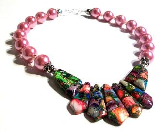 Multi Color Sea Sediment, Rose Pink Pearl & Swarovski Crystal, Necklace Set, INCLUDES Lg Tear Drop Earring, 2 Piece Set