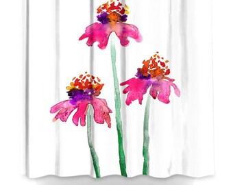 Floral Shower Curtain Fine Art Pink Echinacea Painting - Artistic Bathroom - Colorful Modern Vibrant Bathroom Decor