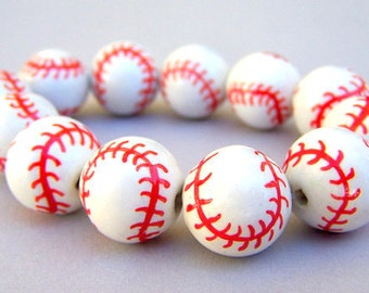 6 baseball beads, porcelain, 15mm white and red softball beads
