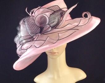 Pink Kentucky Derby Hat,Derby Hat, Fascinator, Dress Hat , Pink Wedding Hat Wide Brim Hat Tea Party Hat Ascot