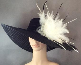 Derby Hat Kentucky Derby Hat Dress Hat Fascinator Church Hat BLACK Hat Wide Brim Wedding Tea Party Ascot Horse Race