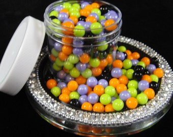Halloween Mix  7MM Sugar Pearl Sprinkles, Large Candy Beads, Halloween Sprinkles, Halloween Party, Halloween Cake Decorations - 4 oz Jar