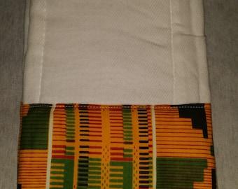 Beautiful Baby Burp Cloths Trim In African Ethnic Print.