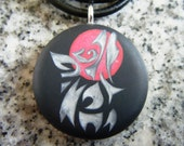 Wolf blood moon hand carved on a polymer clay black color background. Pendant comes with a FREE 3mm necklace