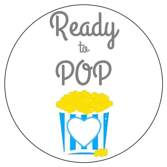 Ready to pop popcorn stickers blue baby stickers blue baby shower labels 3 sizes available for Ready to pop popcorn labels