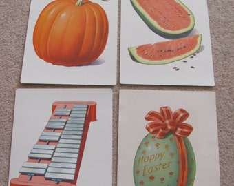 Large Illustrated School Flash Card Poster - Alphabet Letter - Your Choice - Easter Egg - Xylophone - Pumpkin - Watermelon