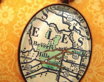 Custom Map Jewelry, Beverley Hills California Vintage Map Pendant Necklace, Personalize Map Jewelry, Map Cuff Links, Groomsmen Gifts