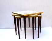 Mid Century Stacking Tables, Small Mid Century Side Tables, Faux Marble Skinny Leg Tables