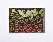 Floral watercolor abstract aceo gift tag pen and ink floral with ribbon green pink