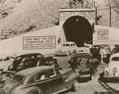 RPPC Lower Portal Bingham-Copperfield Tunnel Bingham Canyon Utah Great Vintage Cars 1940s