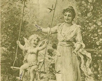 Cupid on Swing of Love in the Garden with Beautiful Lady Hans Zatzka Black and White Art Postcard 1901 UDB Antique Postcard Liebesschaukel