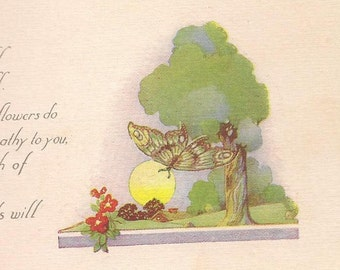 Get Well Vintage Postcard Butterfly Sunshine and Flowers – Beautiful Graphic and Thoughtful Verse