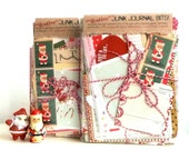I Saw Mommy Kissing Santa Claus - Christmas JUNK JOURNAL 'bits' - coordinated mini book supplies complete with 5 retro Christmas cards