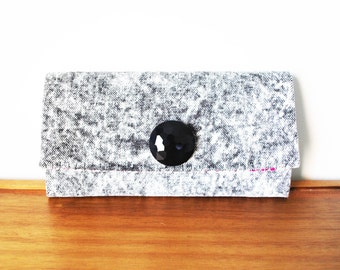 Acid Wash Denim Trifold Clutch Wallet with Large Black Button, made from Repurposed Materials
