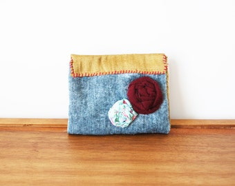CLEARANCE-- Dusty Blue Velvet Cloth Business Card or Credit Card Holder with Maroon and Aqua Rosette