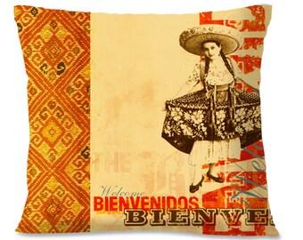 BIENVENIDOS Welcome Pillow Cover - Mexican Hospitality - Senorita - Spanish -  Southwest Home Decor - European Linen backing