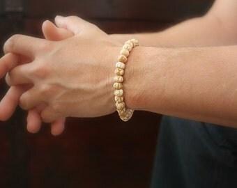 Men's Tribal Bracelet, Beaded Bracelet, Carved Bone Beads, Stackable Bracelet, Bohemian Bracelet, Bohemian Jewelry, LAST ONE!, Father's Day
