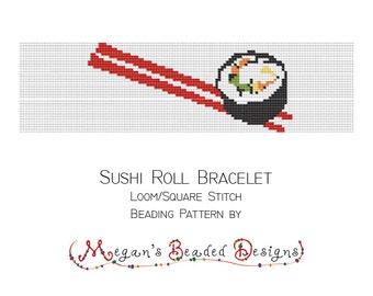 Beading Pattern: Loom or Square Stitch Sushi Bracelet Pattern
