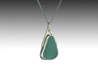 Sea glass , sterling silver pendant