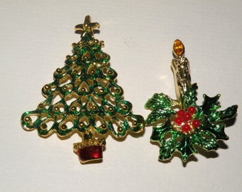 Christmas Tree and Candle Brooches