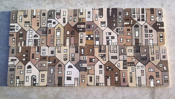 Reserved for Claire only - wood tile coasters hand painted beige