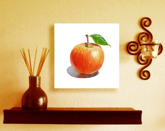 Apple Original Painting 5 x 5 FREE Gift Box Easel and FREE Shipping in The U.S.
