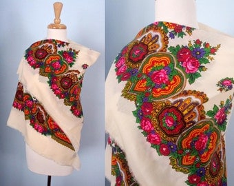 Bright Vintage Floral Scarf or Shawl