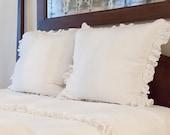 Ruffled Linen Euro Sham/Pillow with Ruffle