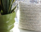 Chunky Crochet Throw Pillow Oatmeal/Grey, Decorative Pillow, 14 x 14