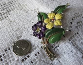 "Fur Clip.  Enameled Purple and Yellow Pansy  ""Nosegay"" with Rhinestones.  TRIFARI (Crown)"