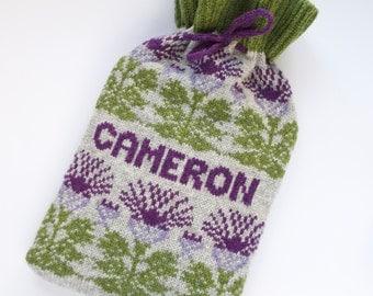 Personalised Knitted Scottish Highland Thistle Fairisle Hot Bottle Cosy/Cozy