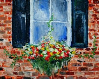 Out of the Box-FINE ART PRINT Abstract Impressionism Contemporary Window Box Flower Painting