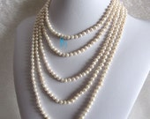 Pearl Necklace -100 inches 5-6mm White Freshwater Pearl Necklace Strands Off Round Cultured- Free shipping