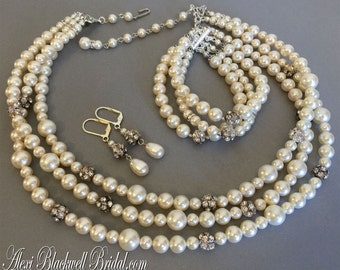 Complete Bridal Jewelry Set Pearl Necklace Bracelet Earrings Twisted Swarovski Pearls Rhinestone Ball accents 3 multi strands Wedding  sets