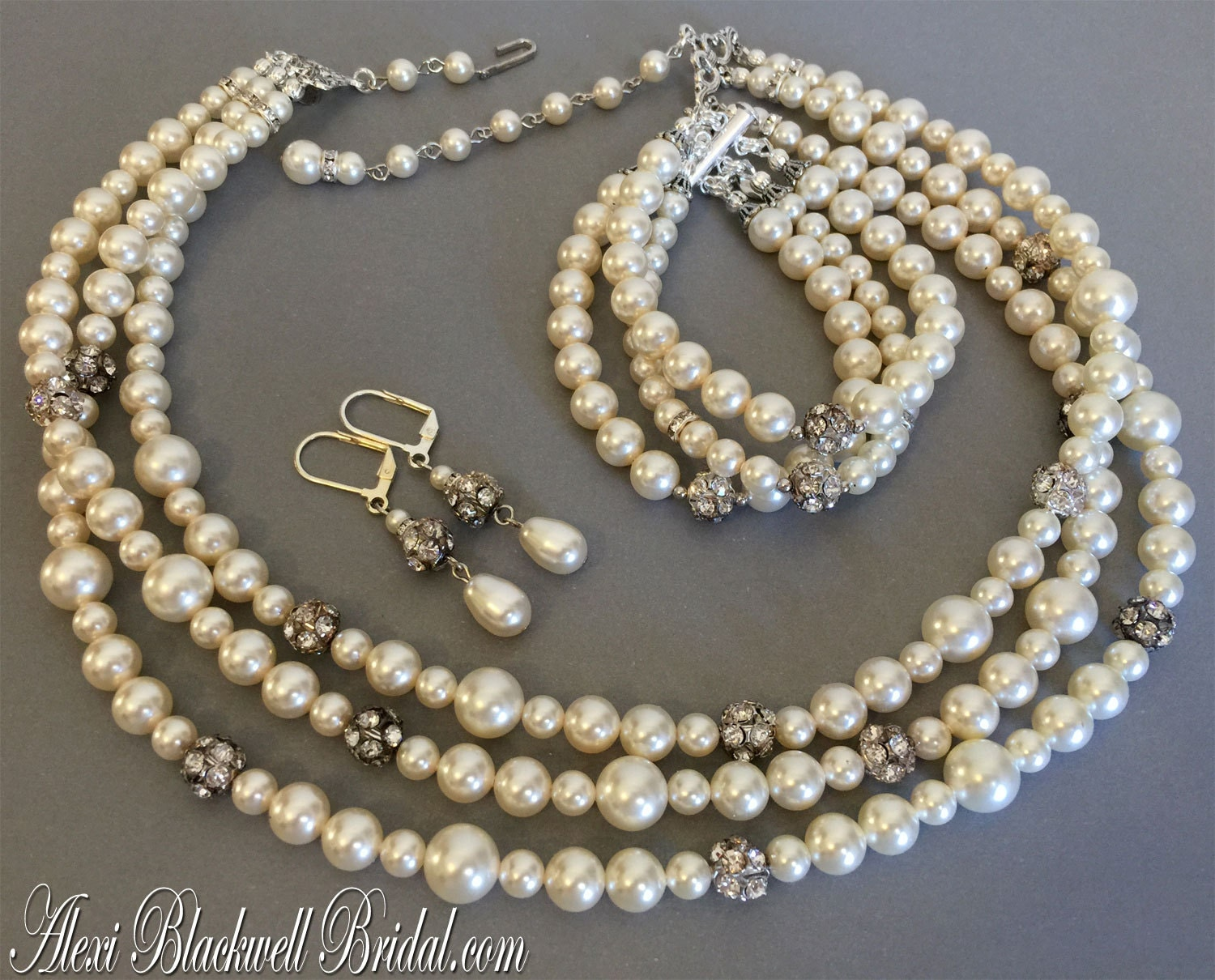 Complete Bridal Jewelry Set Pearl Necklace By