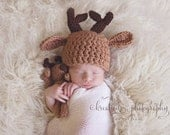 Reindeer Hat Stuffie Set, Newborn to Toddler Beanie and Stuffed Lovey, Baby Deer Christmas Holiday Crochet Photo Prop