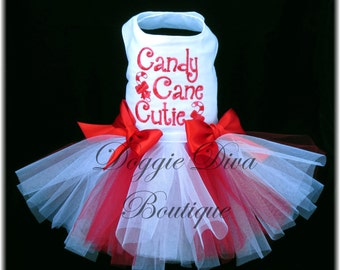 Dog Tutu Dress Candy Cane Cutie Small Holiday dog dress