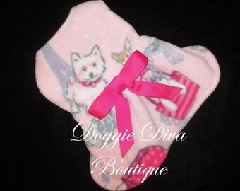 Dog Dress, Dog Fleece Coat Dress, Dog Sweater, Pink Dogs in Paris, XXS, XS, Small or Medium