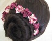 Hairpins x 5. HANDMADE. Plum/Ivory Paper Roses. Bridal, Regency, Victorian.