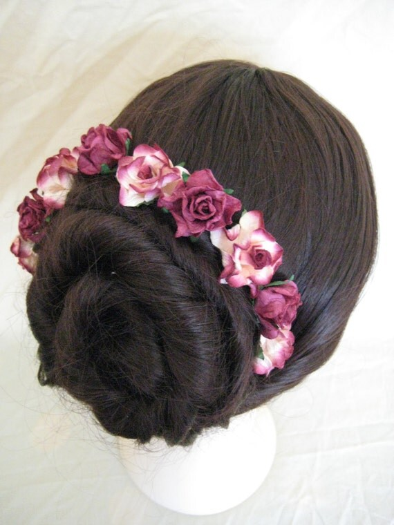 Hairpins x 5 Plum/Ivory Paper Roses. Bridal, Regency, Victorian.