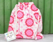 MEDIUM Reusable Drawstring Bag-for Toys, Gifts, Crafting or Storage in Patty Young Mod Pink Floral