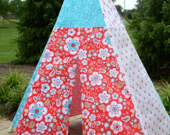 READY TO SHIP! - Child Toddler Kid's Play Teepee/Tent Hideaway in Riley Blake Twice As Nice Red Turquoise White Grey