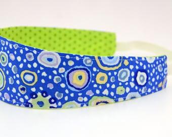 Reversible Fabric Headband- Children Toddler in Kaffe Fasset Paperweight Royal Blue Green Dots
