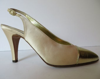 Vintage Chanel Shoes 7.5M/Chanel Ivory Satin Slingback Heels/Ivory Slingback Spectator  Heels/Chanel Creme Satin Slingback Heels/Size 7-7.5M
