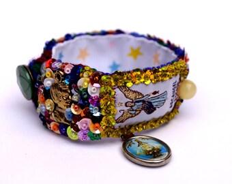 Raphael Archangel Scapular woven embroidered bracelet