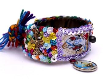 Guardian Angel Scapular sequined embroidered bracelet