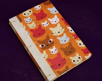 Cats --- coiled binding notebook / recycled paper
