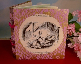 Fairy Tale Lavender and Gold Small Journal with Vintage Blondine Page Illustration Cover